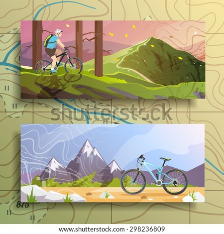 Beautiful set of colorful flat vector banners on the theme: mountain biking, cycling. All items are created with love especially for your amazing projects. - stock vector