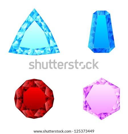 beautiful set of diamonds - stock vector