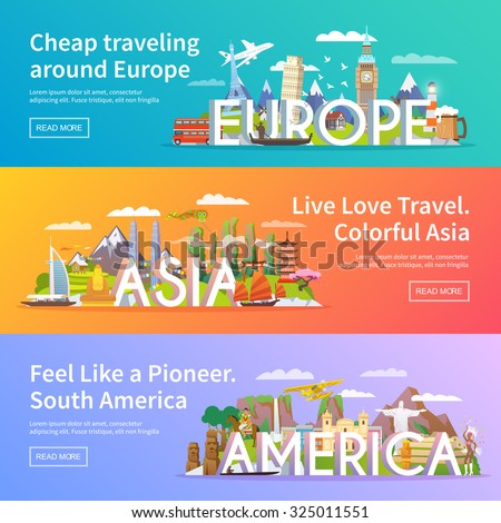 Beautiful set of flat vector banners on the theme Asia, Europe, America, summer travel, adventure, vacation. Modern flat design. - stock vector
