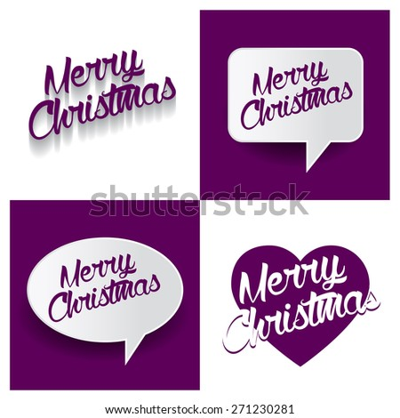 Beautiful set of Merry Christmas Hand lettering handmade vector calligraphy purple background set. vector call out Merry Christmas letter. heart shape Merry Christmas text - stock vector