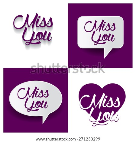 Beautiful set of Miss You Hand lettering handmade vector calligraphy purple background set. vector call out Missing you letter. heart shape Miss You text - stock vector
