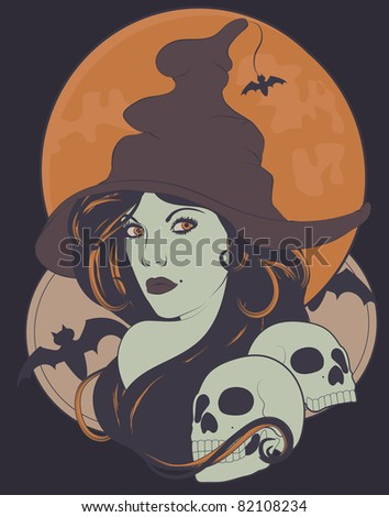 Beautiful sexy witch with long hair and skulls for Halloween - stock vector