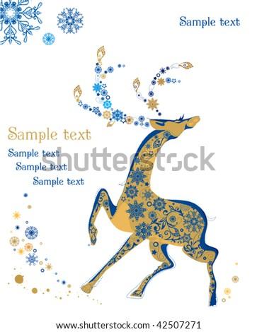 Beautiful Shining Christmas deer, greeting card. Vintage vector illustration - stock vector