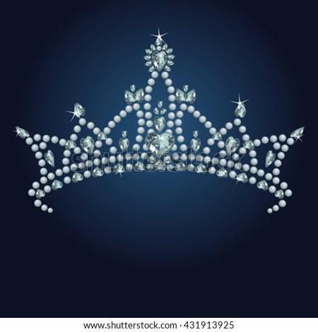 Beautiful shining true princess crown - stock vector