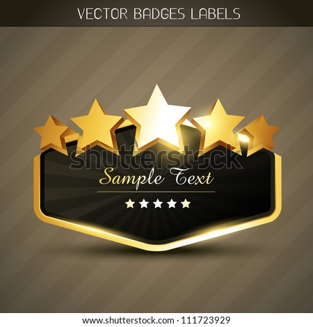 beautiful shiny golden label with space for your text - stock vector