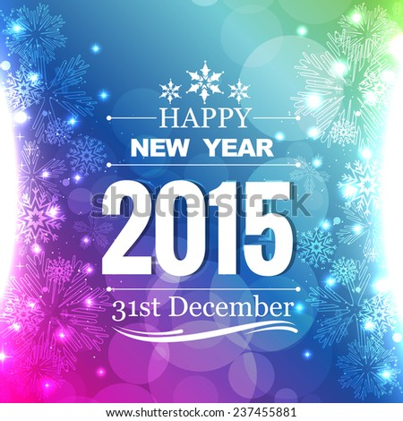beautiful shiny 2015 greeting with snowflakes on left and right of design - stock vector
