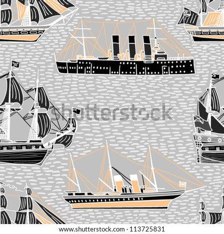 beautiful ship seamless pattern - stock vector