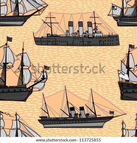 beautiful ship seamless pattern - stock vector