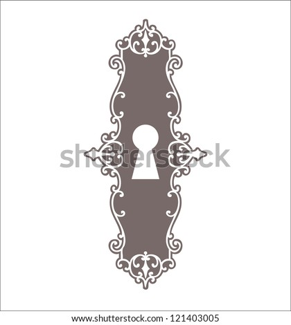 Beautiful silhouette keyhole, decorated frame - stock vector
