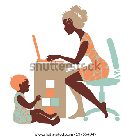 Beautiful silhouette of mother-freelancer with notebook and baby playing with toys - stock vector