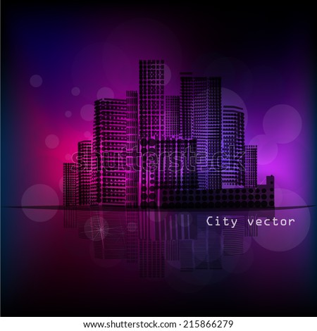 Beautiful silhouette of the city at night - stock vector