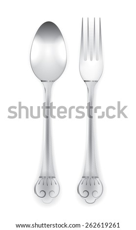 Beautiful silverware or flatware of fork and spoon. Isolated on white background, vector illustration - stock vector