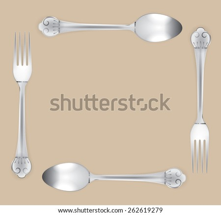 Beautiful silverware or flatware of fork and spoon. on brown background, vector illustration - stock vector