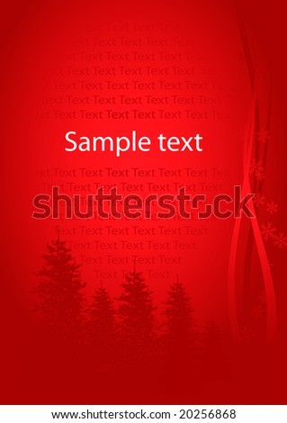 Beautiful simply red christmas card with place for text (vector, illustration) - stock vector