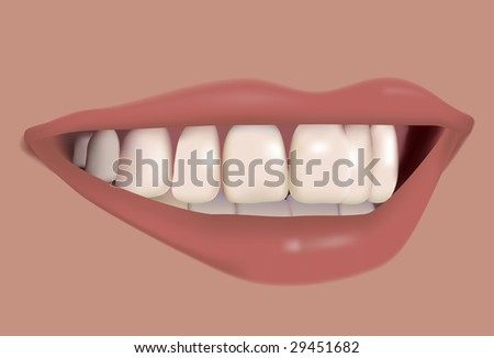 Beautiful smile. Vector. With mesh. - stock vector