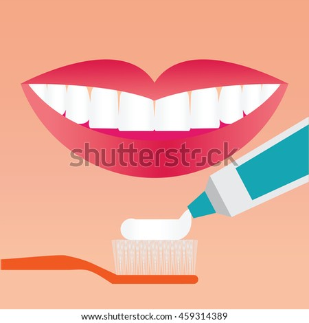 Beautiful smiling mouth with beautiful healthy teeth with Toothbrush and Toothpaste, Brushing Teeth care concept, Flat vector illustration. - stock vector