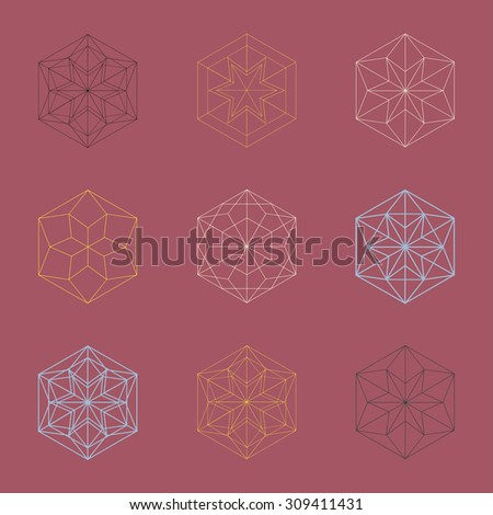Beautiful snowflake collection. Winter abstract design elements. - stock vector