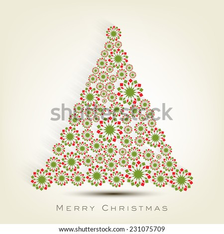 Beautiful snowflake decorated X-mas Tree for Merry Christmas celebrations. - stock vector