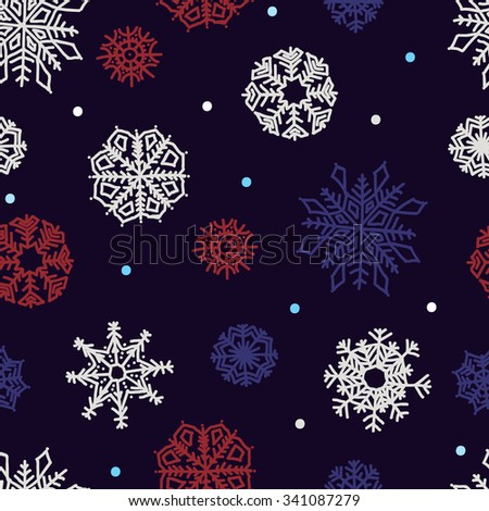 Beautiful snowflakes seamless ornament for christmas winter design - stock vector