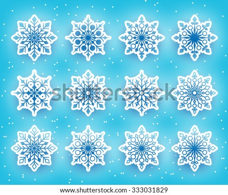 Beautiful Snowflakes Set for Winter Season in Snowy Background. Vector Illustration  - stock vector