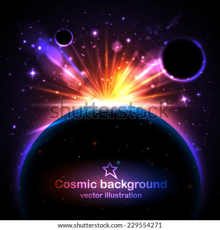 Beautiful solar eclipse vector background with stars, planets and lens flare. Vector illustration - stock vector