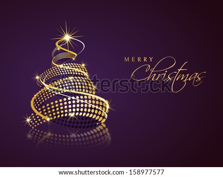 Beautiful Spiral Golden Xmas Tree On Stock Vector 158977577 ...
