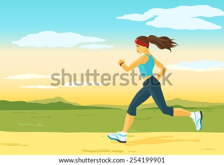 Beautiful sports girl runs on a cross-country terrain. Morning jogging. Nature is represented on a background. Crop image how you want. Vector color image. - stock vector