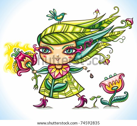 Beautiful Spring Flower Girl waking up Nature, throwing floral seeds on the ground, bringing life. - stock vector