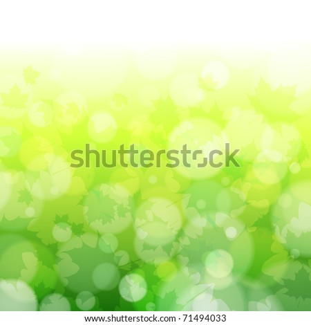 Beautiful spring forest bokeh background with maple leaves. Vector eps10 illustration - stock vector