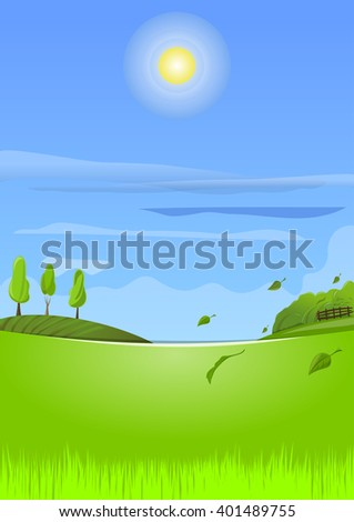Beautiful spring landscape. Country landscape with young green spring grass. Vector illustration - stock vector