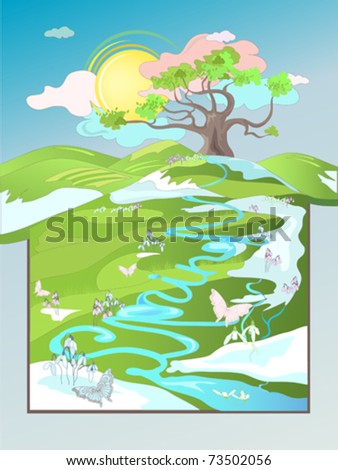 Beautiful spring rural landscape, with oak tree
