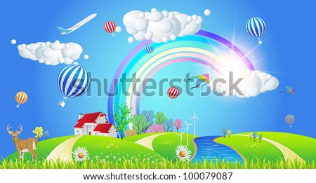 Beautiful Spring Summer Landscape - Vector Illustration