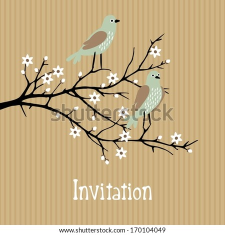 Beautiful spring vector background with birds on cherry blossom branch, birthday, wedding card, g invitation - stock vector