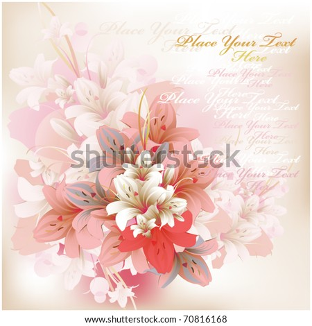 beautiful square card with lilies  for Valentine's, birthday or Wedding - stock vector