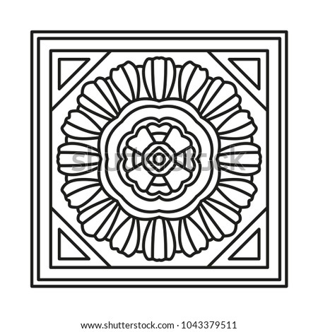 Beautiful Square Shape For Coloring Vector Oriental Tile Book Page Mandala Style