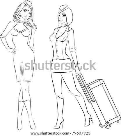 Beautiful stewardess. Vector illustration - stock vector