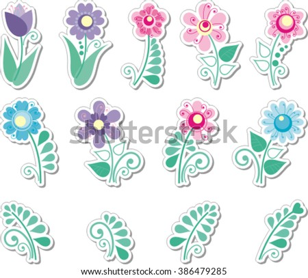 beautiful stickers with flowers for design