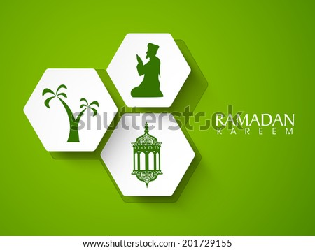 Beautiful sticky design silhouette of religious muslim man praying, intricate arabic lantern with palm trees on shiny green background.  - stock vector