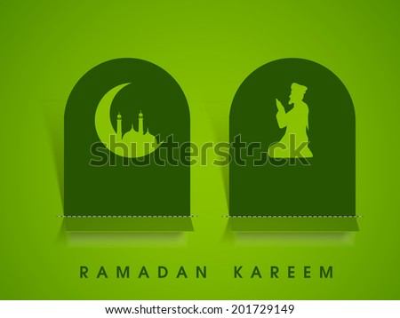 Beautiful sticky design with crescent moon, mosque and religious muslim man praying on green background.  - stock vector