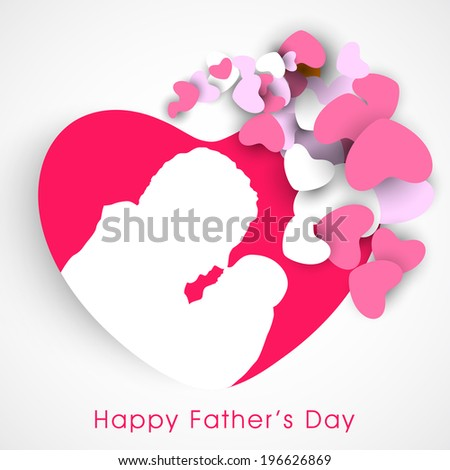Beautiful sticky in heart shape with white silhouette of a young father and little baby on grey background.  - stock vector