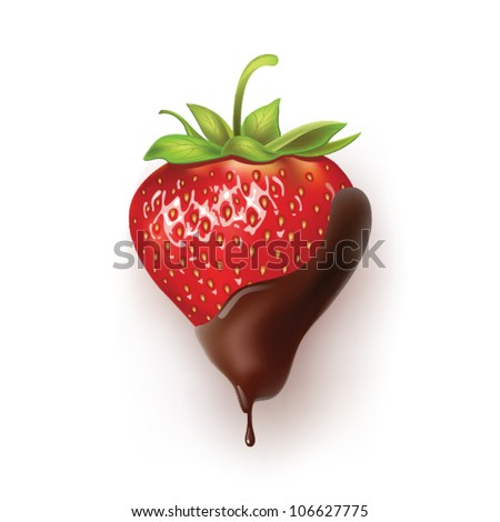 beautiful strawberries in dark chocolate.   vector  illustration of a realistic - stock vector