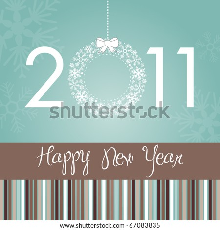 Beautiful Stylish New Year Card - stock vector