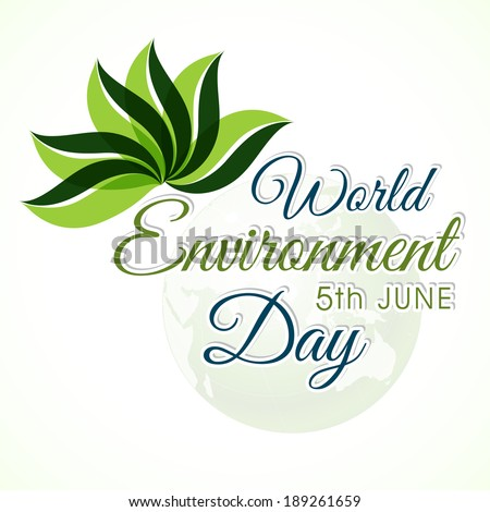 Beautiful stylish text World Environment Day 5th June and illustration of green leaves on grey background.  - stock vector