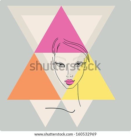 Beautiful stylish young woman face on light background with  triangle geometric shapes. Style of 80s. Disco trend.Fashion model hand drawn design element,banner,poster.Vector Illustration - stock vector