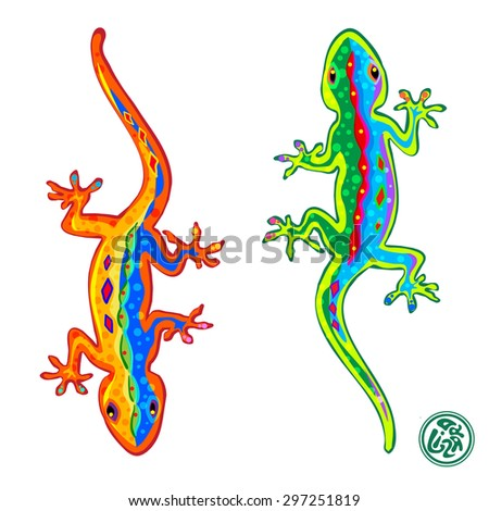 Beautiful stylized colored lizards isolated on white background, Gecko. Vector illustration. - stock vector