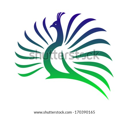Beautiful stylized peacock  logo with its tail feathers opened in a mating display in shades of green and blue on a white background. Rasterized version also available in gallery - stock vector