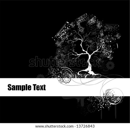 beautiful stylized tree with  grunge texture instead of foliage on broad white band with flowers and frame on black background