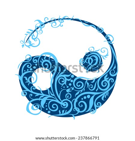 Beautiful stylized yin yang in plant curled patterns - stock vector