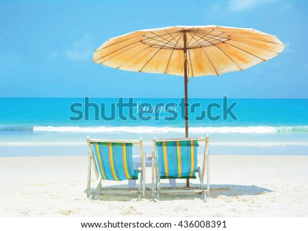 Beautiful Summer Beach With Beach Chairs And Umbrella   Vector