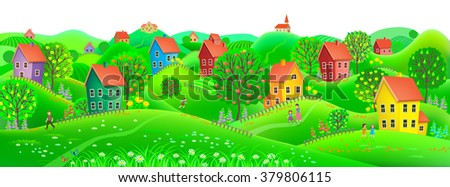 Beautiful summer horizontal banner depicting a village with trees and fruits to them. - stock vector